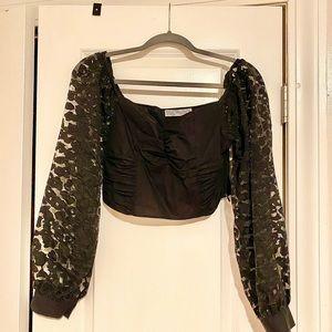 Zara puffy sleeve black crop top